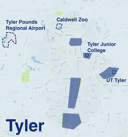 Where to Drive in Tyler   Uber